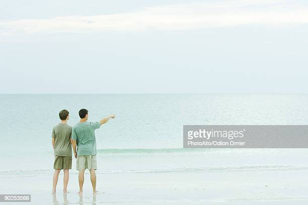 Father and son standing together beach, looking at view, one pointing
