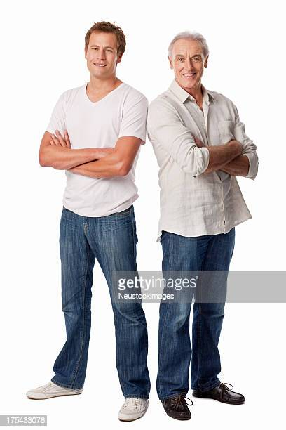 Father And Son Standing With Arms Crossed - Isolated