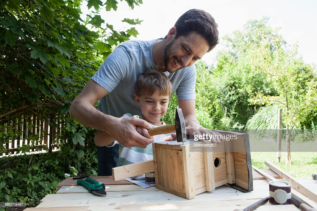 Father and son timbering a birdhouse : Stock-Foto