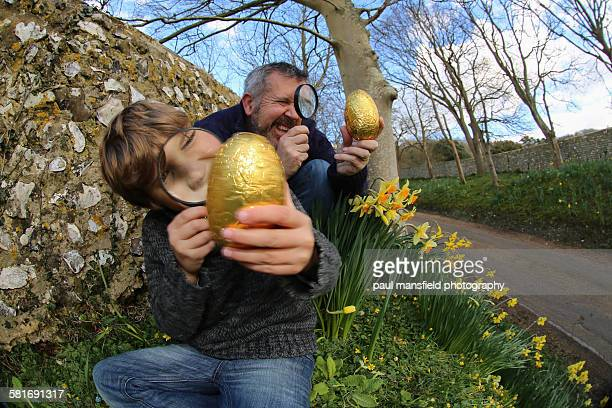 Father and son viewing Easter eggs