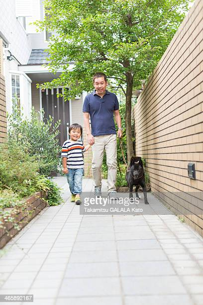 father and son walking dog on path - japanese spitz stock pictures, royalty-free photos & images