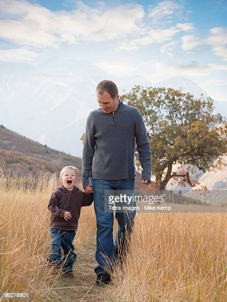 Father and son walking outdoors