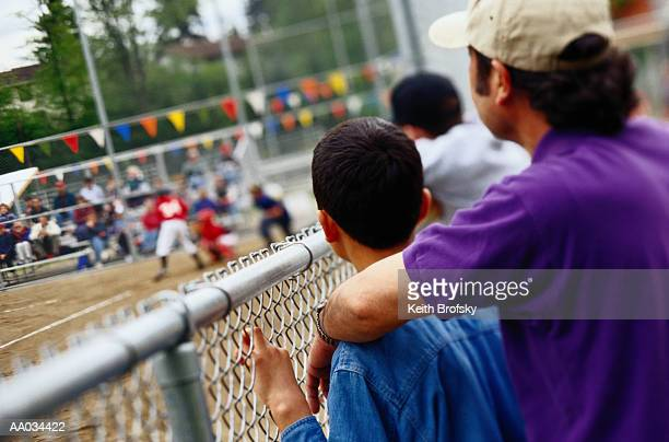 Father and Son Watching a Baseball Game