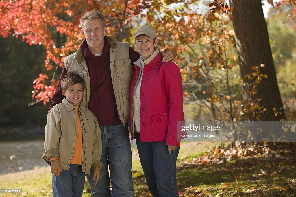 Father and son with grandmother : Stockfoto