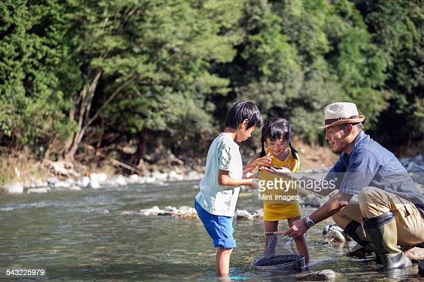 Father and two children playing by a river.