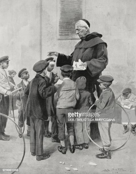 Father Beccaro among Calabrian children displaced after the earthquake Milan Italy drawing by Riccardo Salvadori from L'Illustrazione Italiana Year...