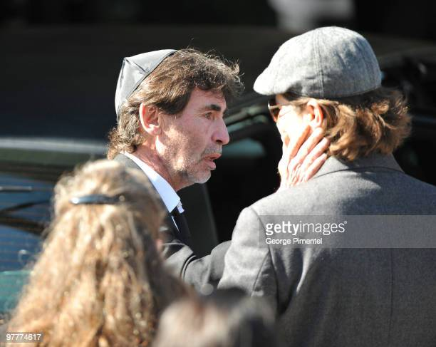 Father Bernie Haim and other mourners attend the private funeral service for his son Corey Haim at Steeles Memorial Chapel on March 16 2010 in...