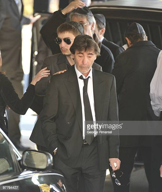 Father Bernie Haim and other mourners attend the private funeral service for her son Corey Haim at Steeles Memorial Chapel on March 16 2010 in...