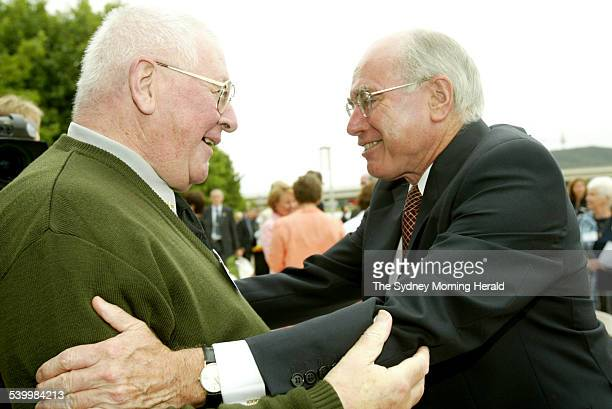 Father Brian Morrison of WA with Prime Minister John Howard at Australia Day celebrations 25 January 2006 SMH Picture by CHRIS LANE
