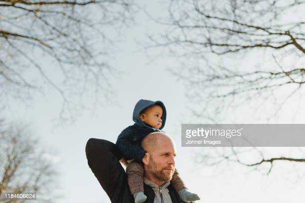 father carrying boy on shoulders - paternity leave stock pictures, royalty-free photos & images