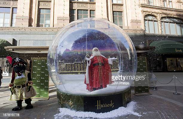 Father Christmas At A Photocall For The Launch Of Christmas World Which Opens During The Height Of Summer At Harrods In Knightsbridge London