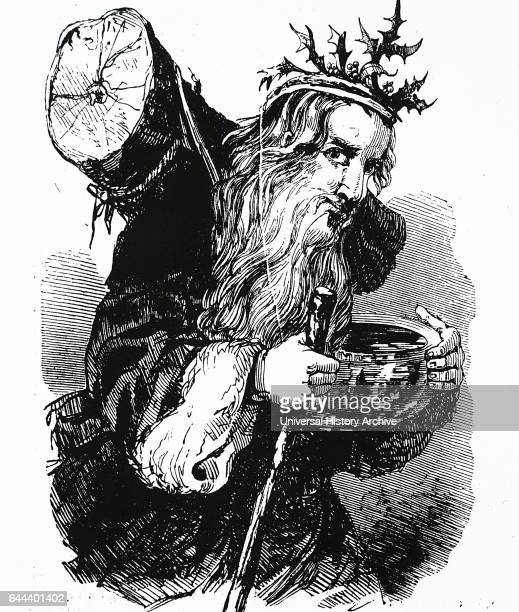 Father Christmas carrying a Yule log 1848