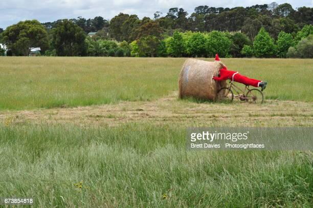 Father Christmas (Santa Claus) runs into a hay bale