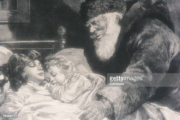 Father Christmas tucking in children