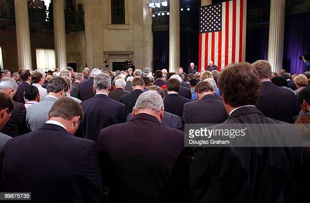 Father Daniel P Coughlin chaplain of United States House of Representatives delivers the invocation during the Commemorative Joint Meeting of...