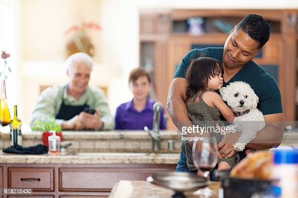 father, daughter and dog - stepfamily stock photos and pictures