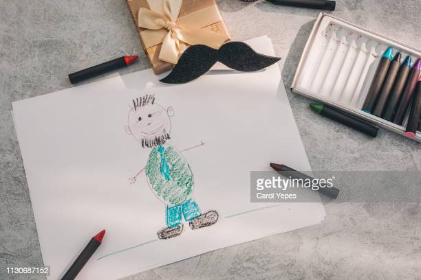 father day child drawing.top view - fathers day stock pictures, royalty-free photos & images