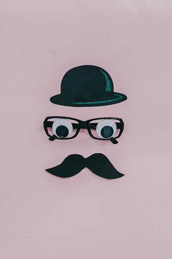 father day concept.Fake eyeglasses and moustache. Flatlay - gettyimageskorea