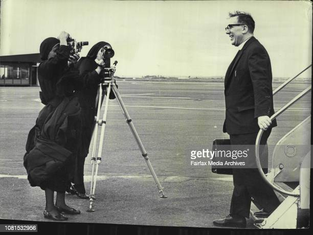 Father Des O'Neill and sister Riccarda and Sister Emanuel pictured at Sydney Airport today They are making a film on Father Angelus Andrew President...