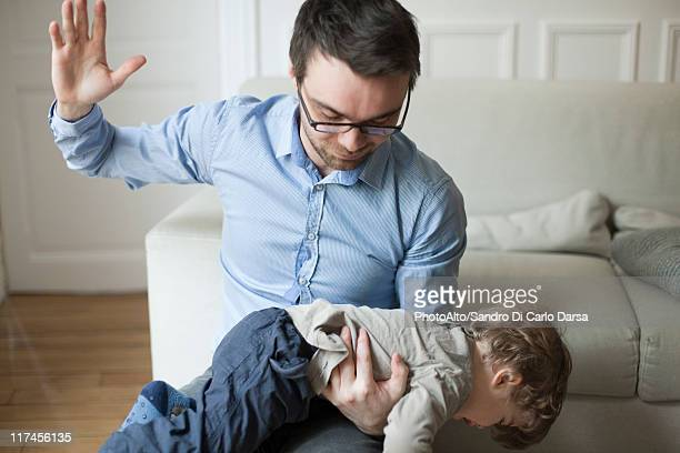 father disciplining toddler - france strike stock pictures, royalty-free photos & images