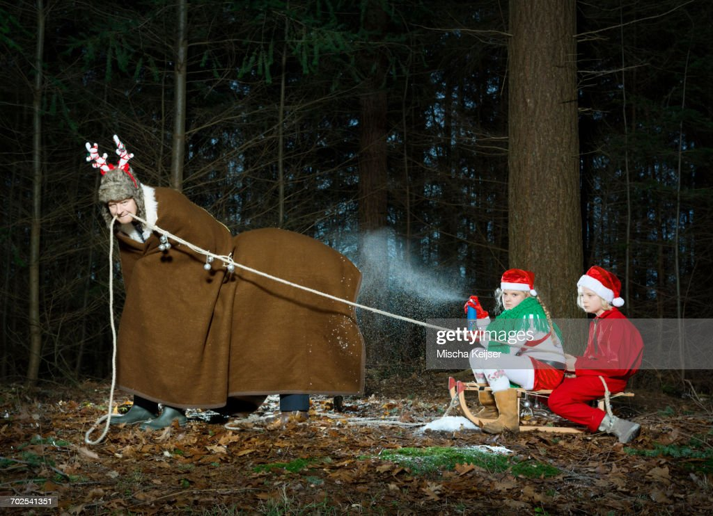 Father disguised as reindeer pulling sleigh with children in Santa costume : Stock Photo