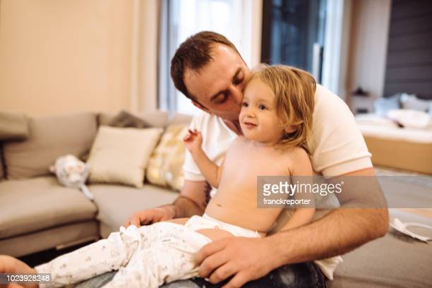 father dress up the daughter - baby changing mat stock pictures, royalty-free photos & images