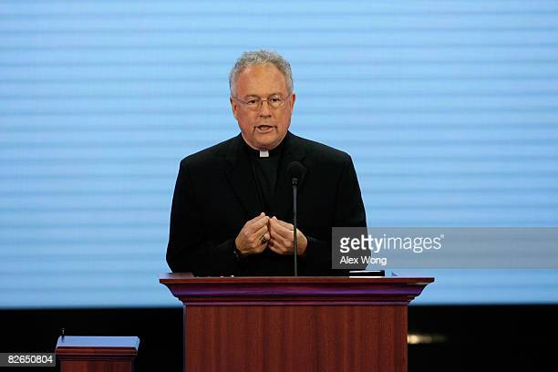 Father Edward Reese gives the Invocation on day three of the Republican National Convention at the Xcel Energy Center on September 3 2008 in St Paul...