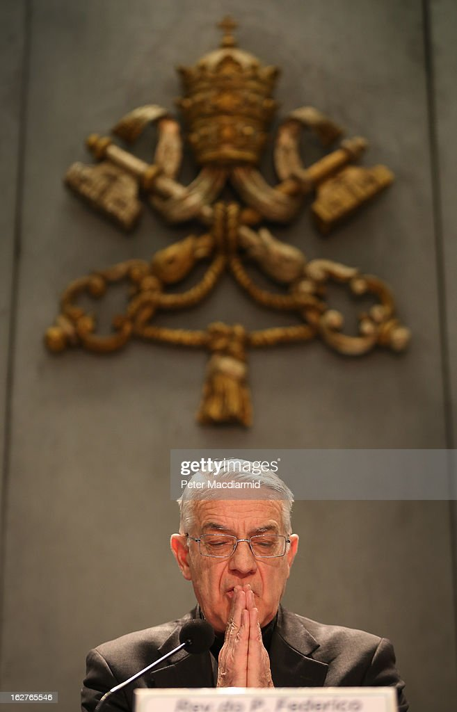 Father Federico Lombardi, Director of the Holy See Press Office, speaks to reporters during a press conference in the Holy See Press Room on February 26, 2013 in Rome, Italy. The Pontiff will hold his last weekly public audience on February 27, 2013 before he retires the following day. Pope Benedict XVI has been the leader of the Catholic Church for eight years and is the first Pope to retire since 1415. He cites ailing health as his reason for retirement and will spend the rest of his life in solitude away from public engagements