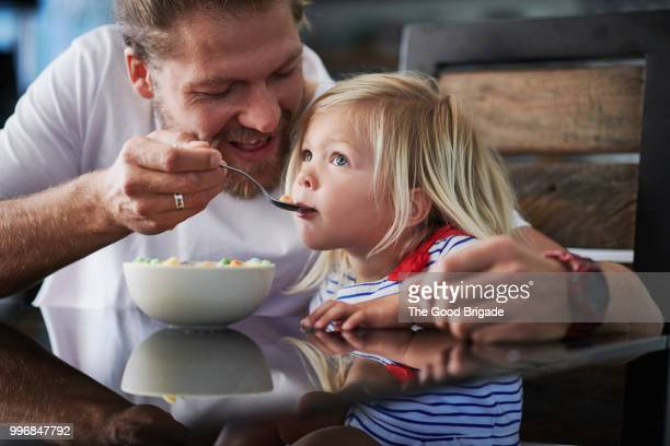 father feeding breakfast to cute little girl at table - 食べさせる ストックフォトと画像