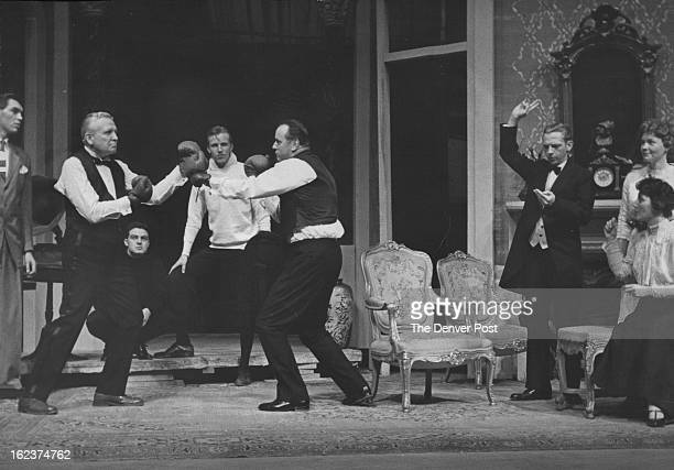 MAR 24 1959 MAR 29 1959 Father Francis Van Derbur spars with Ralph Sanks Edward Abbey Bill Sigwing Michael McCracken Maxine Long Alice Griffith watch...