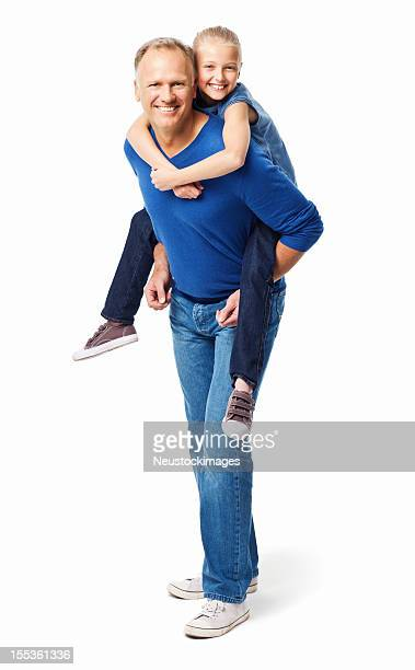 father giving his daughter a piggyback ride - isolated - piggyback stock pictures, royalty-free photos & images