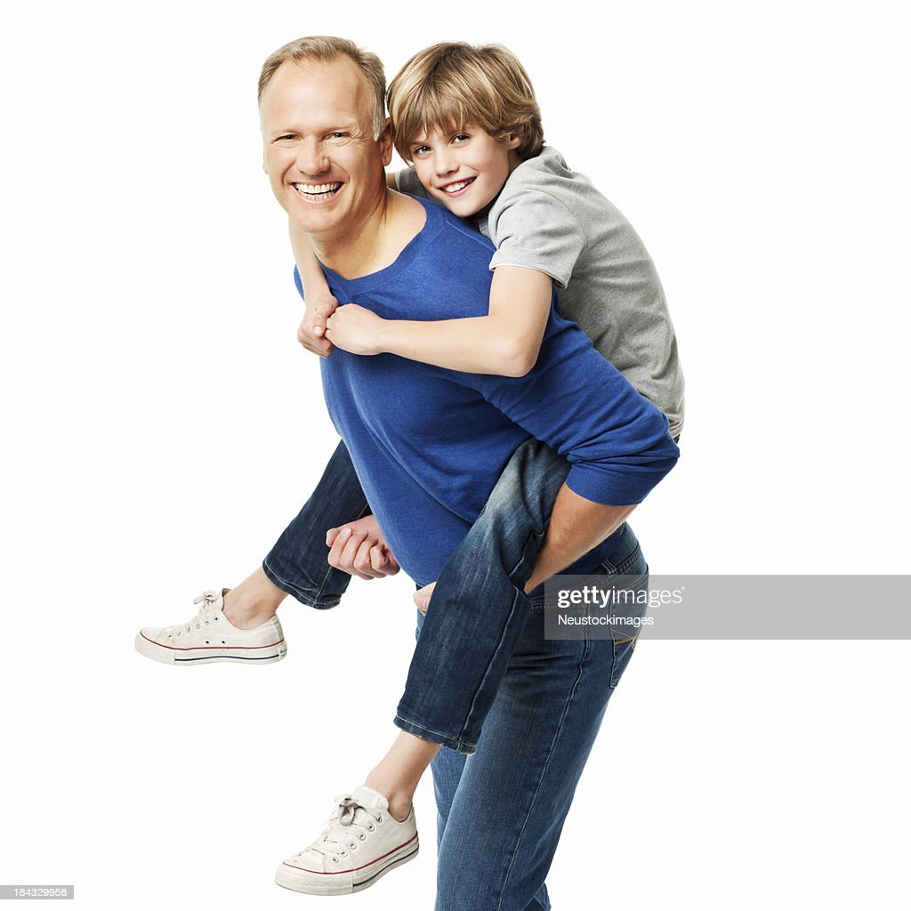 Father Giving His Son A Piggyback Ride Isolated Stock