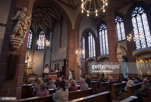 Father Gotthard a Capuchin during mass at Liebfrauenkirche Frankfurt Germany 05 October 2014 Liebfrauenkirche is a Roman Catholic Parish Church and...