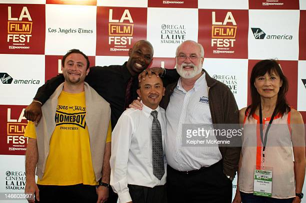 Father Gregory Boyle and Director Freida Mock with Homeboy Homegirl Industries members attend the GDog QA during the 2012 Los Angeles Film Festival...