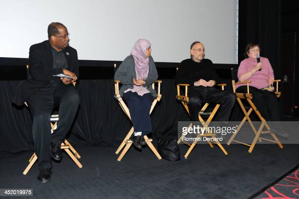 Father Gregory Chisholm Dr Sarah Sayeed Rabbi Michael Feinberg and Caroline Christie attend the screening of The Weinstein Companies' Mandela A Long...