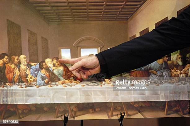 Father Gregory Fairbanks a professor at St Charles Borromeo Seminary in Philadelphia points to John in a picture of 'The Last Supper' by Leonardo Da...
