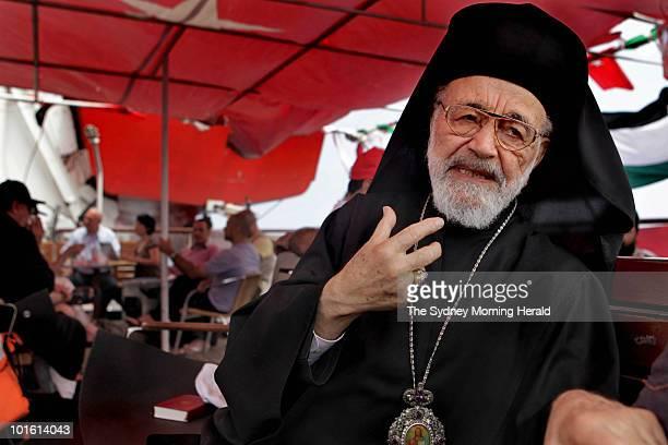 Father Hilarion Capucci former Catholic archbishop of Palestine is seen aboard the Turkish passenger ship Mavi Marmara bound for Gaza on May 29 2010...