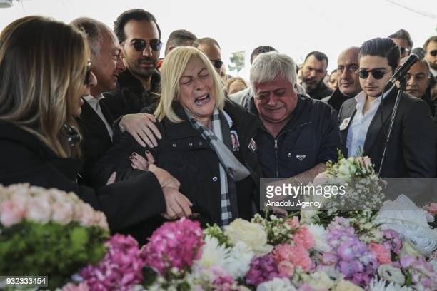 Father Huseyin Basaran fiancee Murat Gezer relatives and friends of Mina Basaran mourn during the funeral ceremony at the Atakoy 5th Section Mosque...