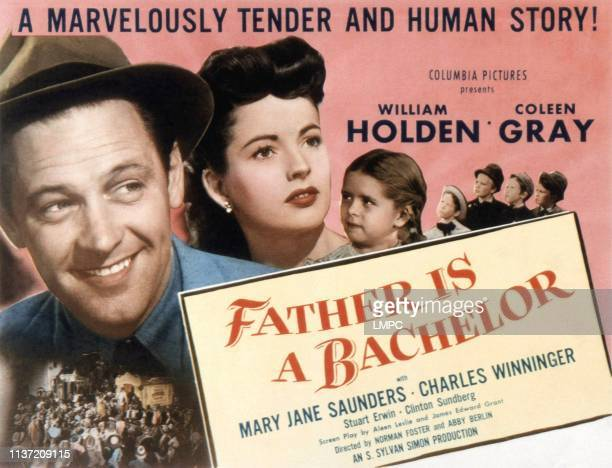 Father Is A Bachelor lobbycard US poster William Holden Coleen Gray Mary Jane Saunders 1950
