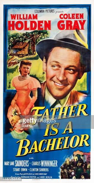 Father Is A Bachelor poster US poster art from bottom Mary Jane Saunders Coleen Gray William Holden 1950