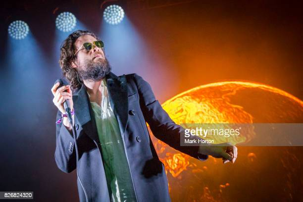 Father John Misty performs on Day 2 of the Osheaga Music and Art Festival at Parc JeanDrapeau on August 5 2017 in Montreal Canada