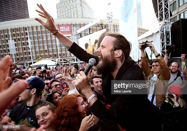 Father John Misty performs onstage during day two of the Boston Calling Music Festival at Boston City Hall Plaza on September 26 2015 in Boston...