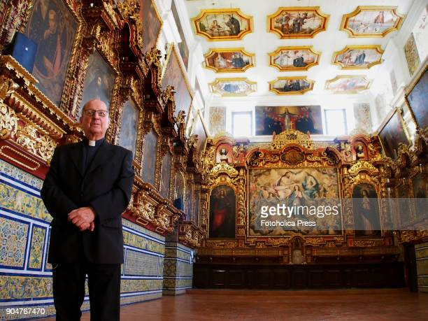Father José Enrique Rodríguez S J Pastor of the San Pedro de Lima church shows the baroque style hall of the Sacristy where Pope Francis will meet...