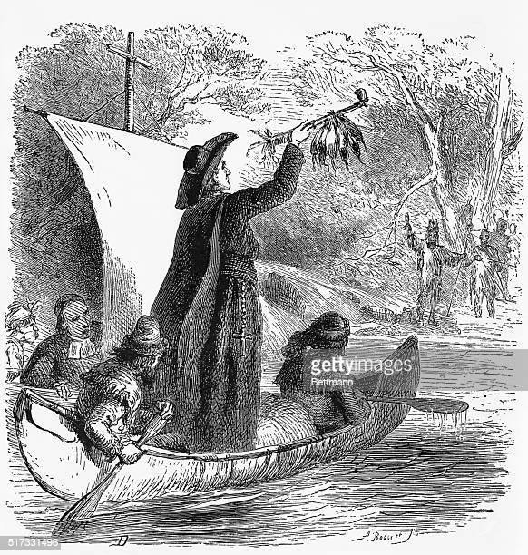 Father Marquette approaches the Indians with a peace pipe Woodcut