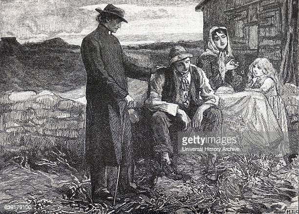 Father Mathew comforting a starving family during the Irish potato famine of the 1840's Father Mathew worked unceasingly to relieve the suffering...