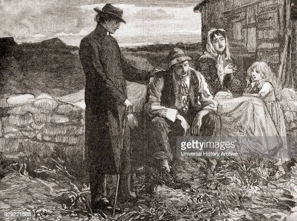 Father Mathew comforts a famine stricken poor family in Ireland in 1845 Theobald Mathew 1790–1856 Irish Catholic teetotalist reformer popularly known...