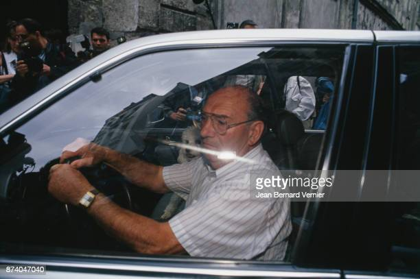Father of Bernard Tapie Mr JeanBaptiste Tapie at the day Bernard Tapie at the Rue des Saint Peres after his charge Paris 29th June 1994