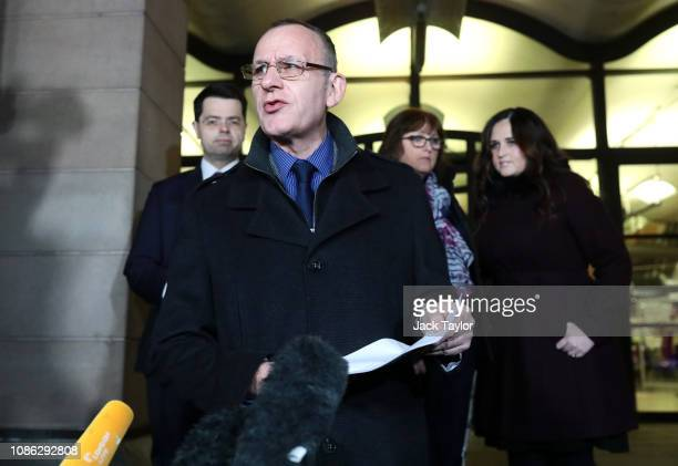 Father of Charlotte Brown Graham is joined by MP for Old Bexley and Sidcup James Brokenshire mother Roz Wickens and sister Katie Brown as he gives a...