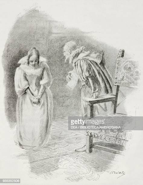 Father of Gertrude scolding his daughter for note to pageboy, illustration by Gaetano Previati , from The Betrothed: 17th century Milanese story,...