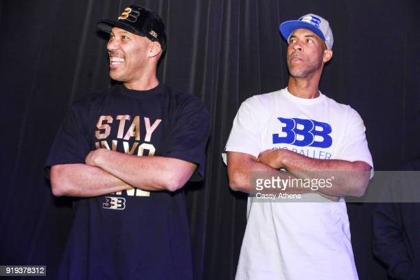 Father of Los Angeles Lakers Lonzo Ball LaVar Ball and his brother attend the Big Baller Brand hosts a fashion show and the release of Lonzo Ball's...